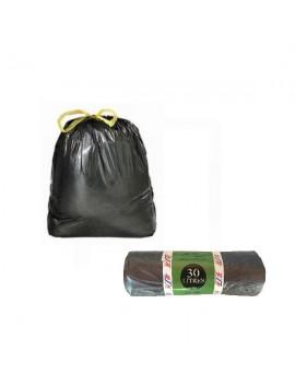 Lot de 25 sacs poubelle à liens coulissants 30L