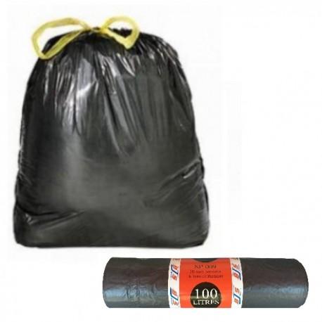 Lot de 10 sacs poubelle à liens coulissants 100L