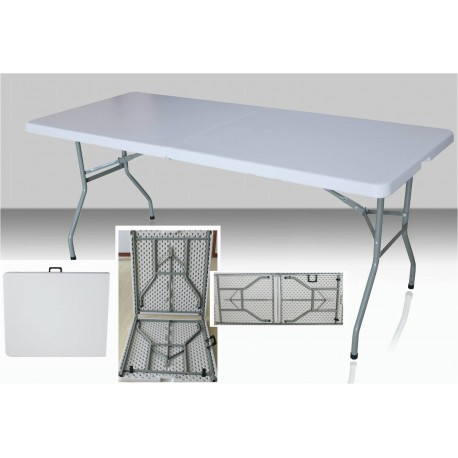 Table rectangulaire dimension 183 cm x 76 cm, pliante en malette