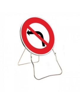 """Panneau BK 2a """"Interdiction tourner à gauche"""" avec support"""