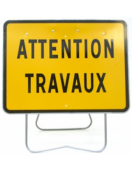 "Panneau KC1 22P ""Attention travaux"" avec support"
