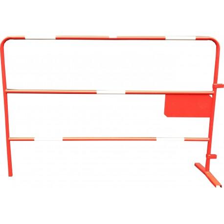 Barrière de chantier rouge Ø 25mm petite plaque